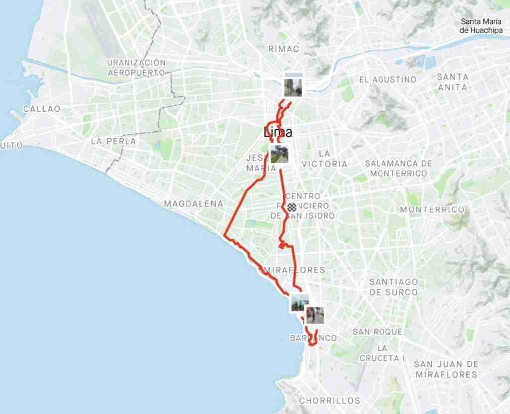 Lima Bike Tour Map // Want to explore Lima, Peru on two wheels? Check out my Lima bike tour experience including sites we visited, what to expect, and more.