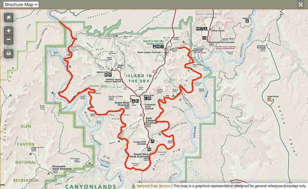White Rim Trail Map // Learn the best tips for planning your White Rim Trail bikepacking adventure including what to pack, how to carry water, and where to camp.
